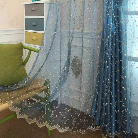 Blue Curtains Embroidered Dull Gold1