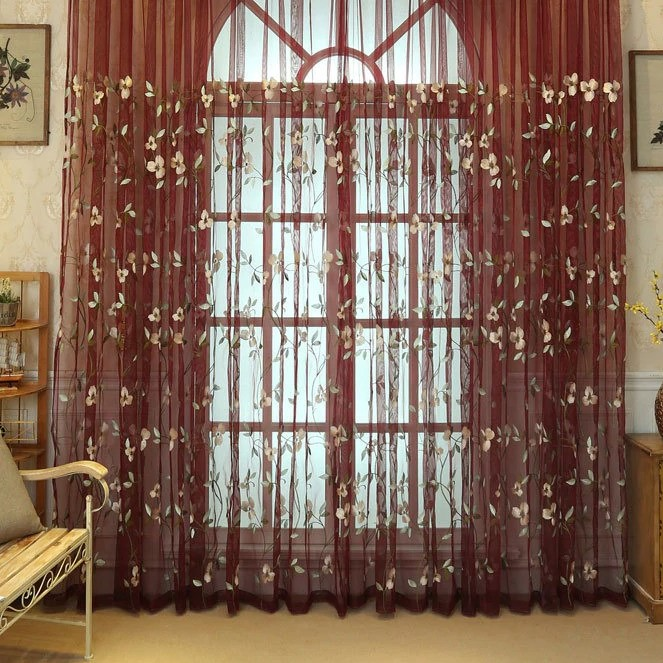 Floral Embroidered Curtains