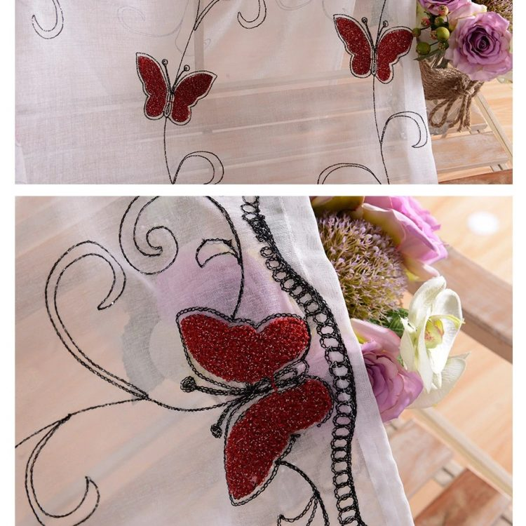 Luxury Embroidered Red Butterfly Voile EHCE08