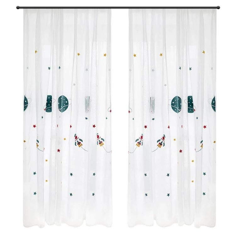 Blue Cartoon Outer Space Rocket Embroidered Voile Curtain