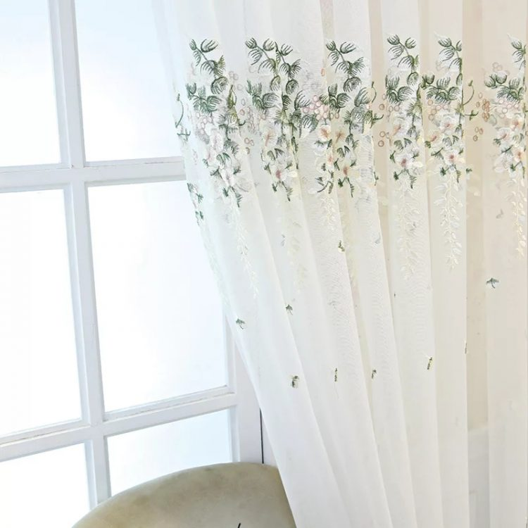 Peacock Embrace Embroidered Floral Curtains EHCE06