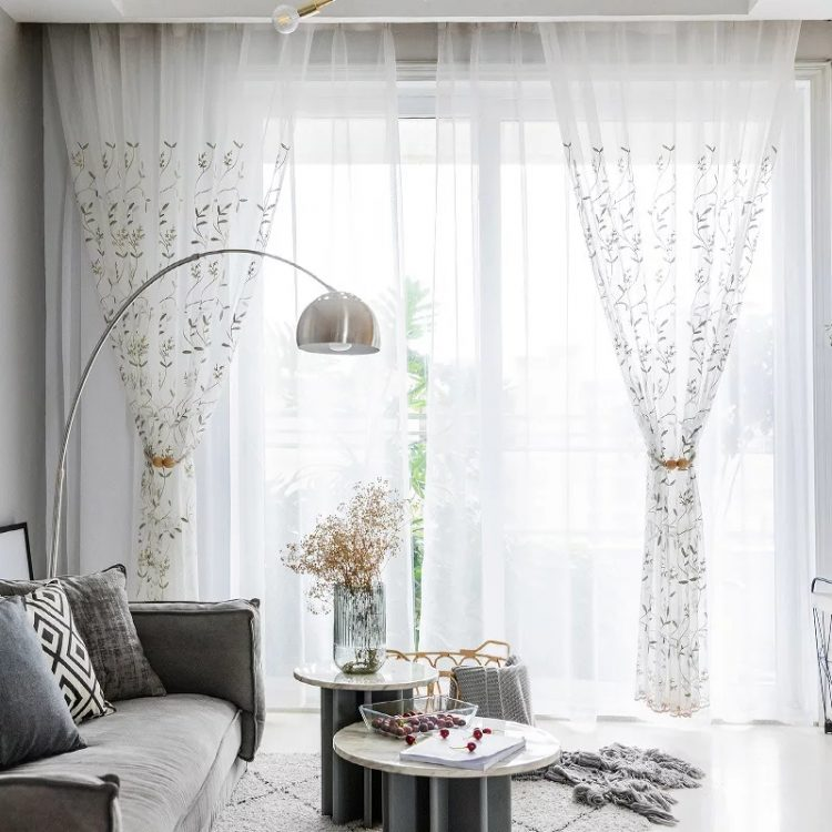 Beautiful Curtains Emerald Green leaves EHCE07