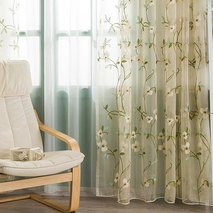 Blue/Green Floral Embroidered Curtain
