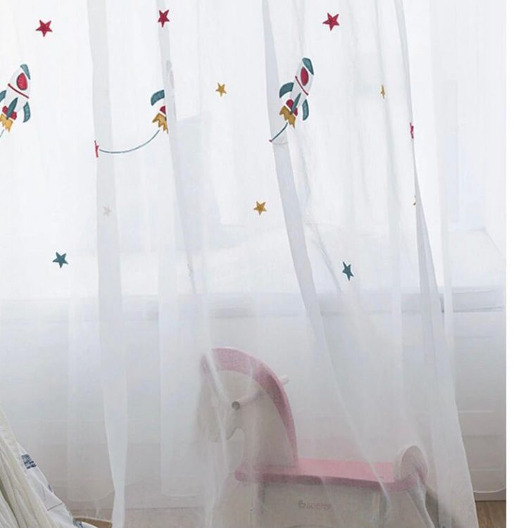 Cute Royal Blue rocket embroidered curtain