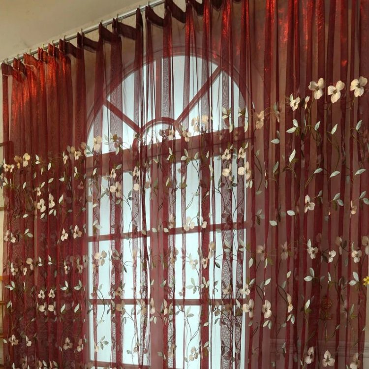 Red Floral Embroidered Curtains