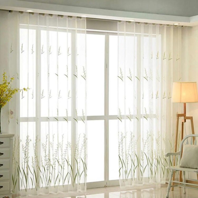 mesh fabric Embroidered Curtains