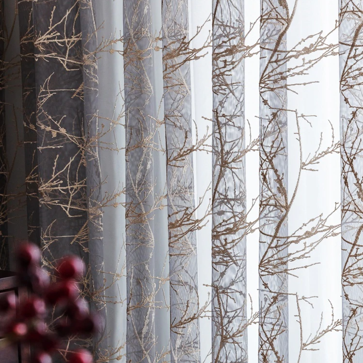 14 descript european high grade branch embroidered tulle curtains grey exquisite voile for living room bedroom window treatment drapes 5474