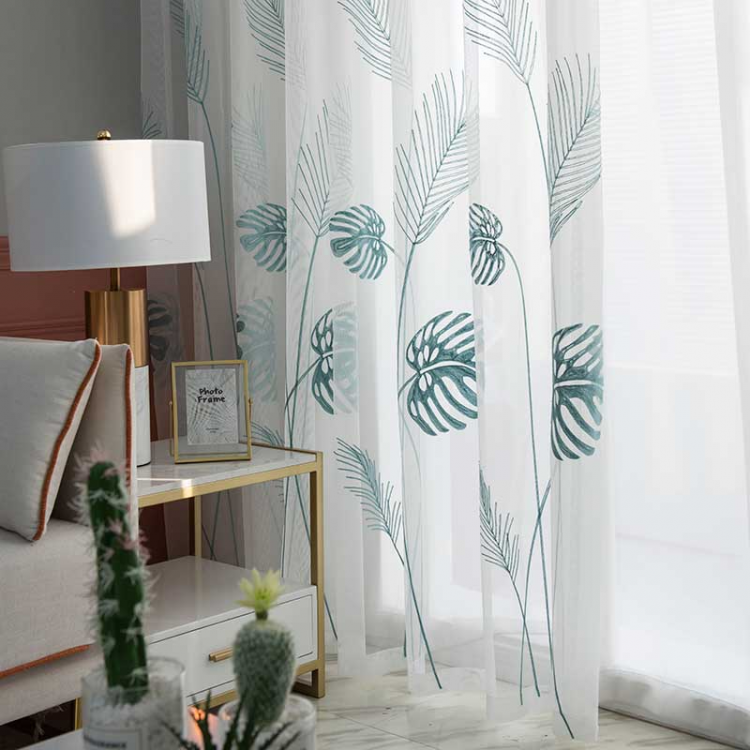 0 main leaf embroidered tulle curtains for bedroom the livingroom window treatments pastoral sheer voile for kitchen drapes decor