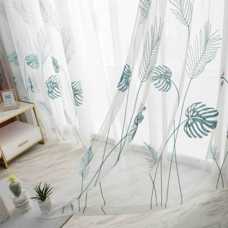 0 variant leaf embroidered tulle curtains for bedroom the livingroom window treatments pastoral sheer voile for kitchen drapes decor