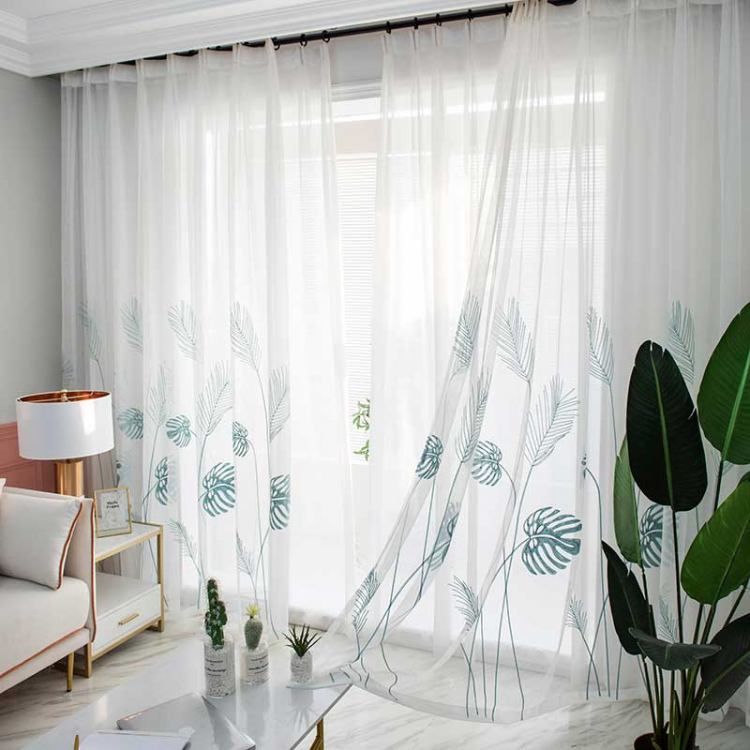 1 main leaf embroidered tulle curtains for bedroom the livingroom window treatments pastoral sheer voile for kitchen drapes decor