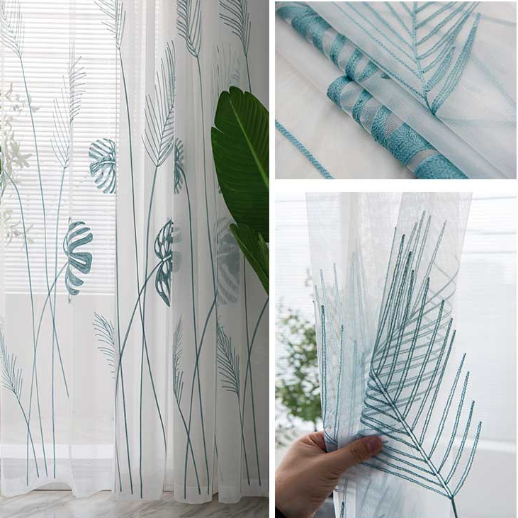 4 main leaf embroidered tulle curtains for bedroom the livingroom window treatments pastoral sheer voile for kitchen drapes decor