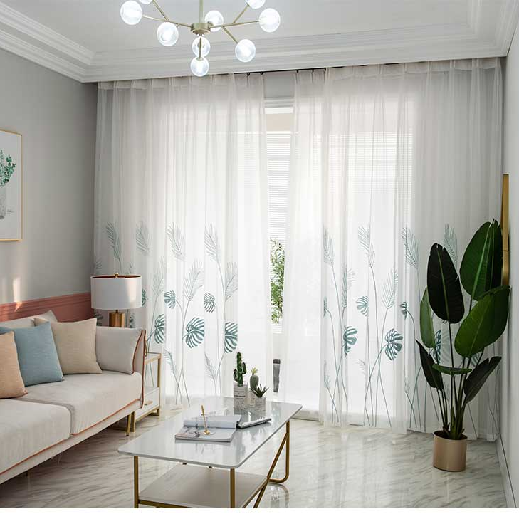 5 descript leaf embroidered tulle curtains for bedroom the livingroom window treatments pastoral sheer voile for kitchen drapes decor